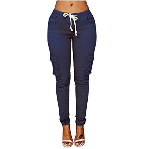 UFACE Frauen-Multi-Pants-beiläufige Hosen-Hosen-Bleistift-Bleistift-Hosen-Hohe Taillen-Dünne Ausdehnungs-Elastische Hose (L/(42), Marine) (Multi Farbe Gestreiften Pant)