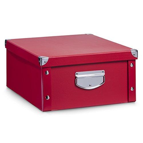 Zeller 17927 Aufbewahrungsbox, Pappe, rot, ca. 40 x 33 x 17 cm