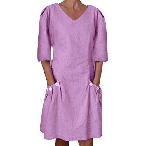 Clacce Sommerkleid Leinen Kleider Damen Leinenkleid Sommer V-Ausschnitt Strandkleid Boho Einfarbig A-Linie Kleid Knielang Kleid Casual Lose T-Shirt Kleider