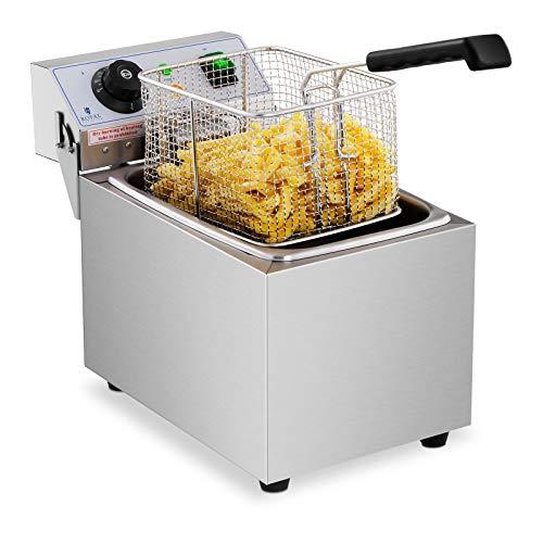 Royal Catering Freidora Electrica Profesional Para Hostelería RCEF 08EB (8 Litros, Potencia 3.200 Watt, Temperatura: 50 - 200 °C, Zona Fría, Tapa Incluida)