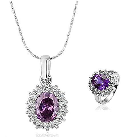 Gnzoe Schmuck Damen Schmuck-Set Vergoldet Damen Ringe Gr.58 Ohrringe Halskette mit CZ Kristall Abendschmuck (Amethyst Hängende Uhr)