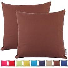 Comoco® -2pcs color sólido grueso algodón Lienzo decorativo funda para cojín para sofá disponible en 15colores y 7tamaños, algodón, marrón oscuro, 40 x 40 cm