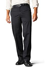 Dockers Men's Signature Khaki D2 Straight Fit Flat Front Pant,Black,38x32