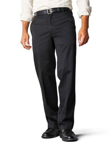 Dockers Men's Signature Khaki D2 Straight Fit Flat Front Pant,Black,38x32 (Flat Dockers Herren Front)
