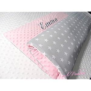 ★ Graue Sterne Babydecke mit kuscheligen Hellrosa Plüsh Minky, Personalisierung mög.