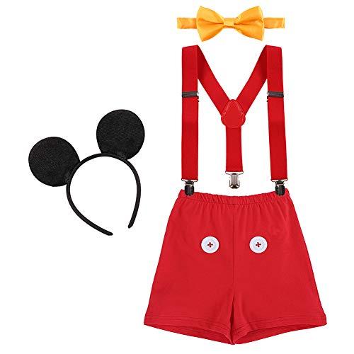 IBTOM CASTLE Neugeborenen Kleinkind Baby 1./2./3. Geburtstag Mickey Mouse Halloween Kostüm Outfit Hosen+Fliege+Clip-on Hosenträger+Maus Ohren 4pcs Bekleidungssets Foto-Shooting 009 Rot 2-3 Jahre (Kostüm Mickey Maus Halloween)