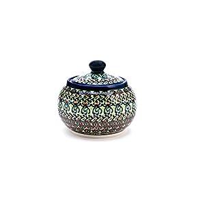 Hand-Decorated Polish Pottery Sugar Bowl Round, Volume: 0,3l Ø 10.7cm H = 9,3cm Decoration DU181