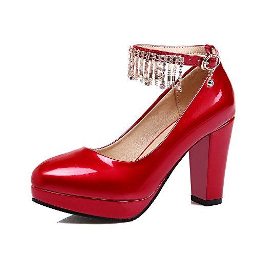 AllhqFashion Damen Hoher Absatz Lackleder Rein Schnalle Rund Zehe Pumps Schuhe Rot