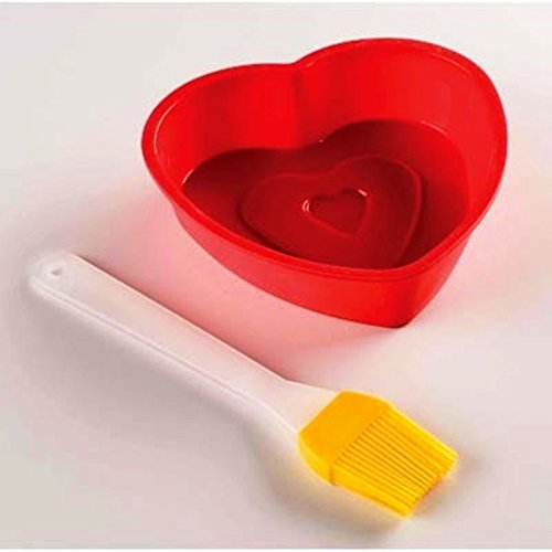 koehler Home Kitchen Decorative Heart Shaped Cake Mold Pan With Brush