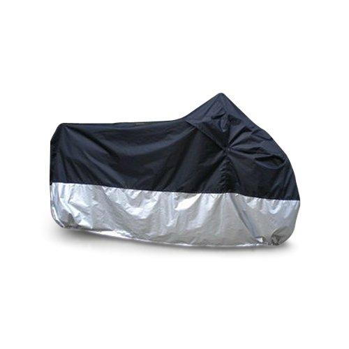 Rupse-Cover-Copertura-Telo-Impermeabile-Antiacqua-Antipolvere-Resistente-UV-Traspirante-Lavabile-XXL-265x105x125cm-in-Poliestere-Protettivo-Nero-Argento-per-Moto-Garage-Outdoor