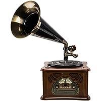 Roadstar HIF-1850 - Giradiscos con campana (USB, AM/FM, 2 x 2.2 W RMS, 35,45 y 78 rpm), color marrón