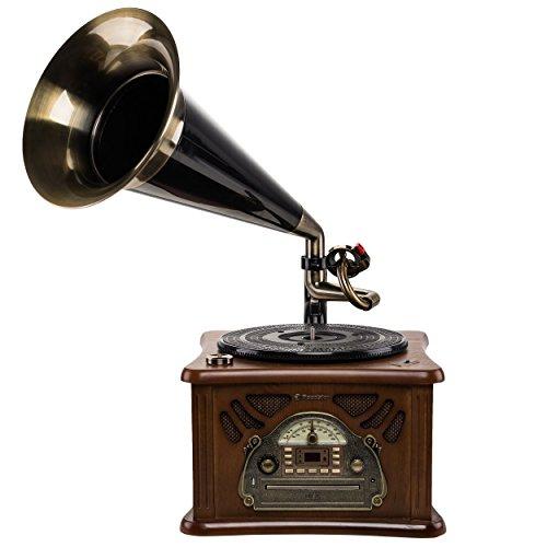 Roadstar HIF-1850TUMP Retro-Musikanlage mit Plattenspieler im Grammophon-Stil (CD / MP3-Player, Kassette, USB, AUX-In, Encoding-Funktion, 35 Watt Musikleistung, Holzgehäuse), braun