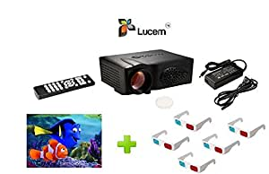 Lucem LP-03 Bright 3D LED PROJECTOR+5 No's. 3D GLASSES+3No's.3D MOVIES