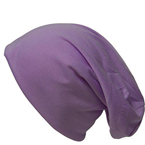 Jersey Baumwolle Long Slouch Beanie Unisex Mütze UNIFARBEN mit STERN oder ANKER Herbst Winter (Pastel Violet) (Kopfbedeckung Unisex)