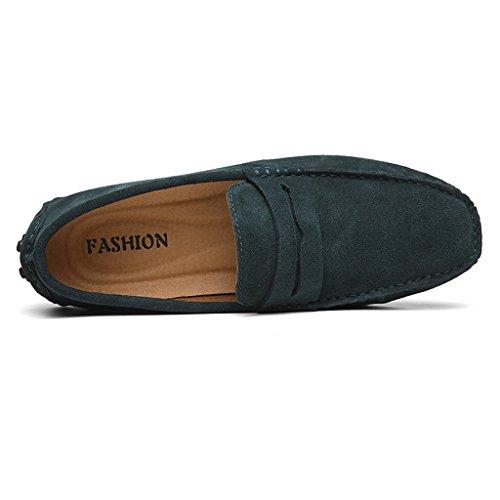 Eagsouni Herren Mokassin Bootsschuhe Wildleder Loafers Schuhe Flache Fahren Halbschuhe Slippers Grün