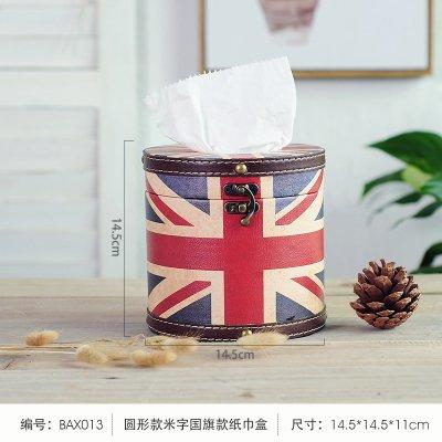 SQBJ Im amerikanischen Stil, retro, Leder, Leder, Leder, Leder, Leder, Papier, Servietten, Holz Zylinder und Serviette, eine Runde Britische Flagge