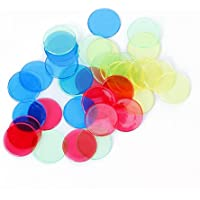 Slivercolor 400pcs contadores de fichas de bingo, cuenta de color transparente fichas de bingo marcadores de plástico para las tarjetas de juego de bingo 4 colores