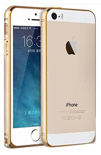 SDO Luxury Screwless Dual Tone Arc Edge Bumper Case for Apple iPhone 5 5s (Golden)