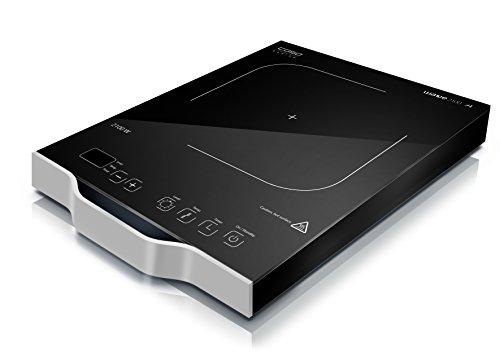 Caso W2100 mobiles Design Einzel-Induktionskochfeld, 2100 Watt, Induktions-Kochplatte einzeln, Kochen mit Induktion ist bis zu 50% energiesparender und sicherer als mit einem normalen Kochfeld, so schnell wie Gas, 12 präzise Leistungsstufen