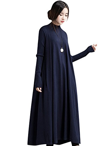 Youlee Donna Alto Collo Lungo Manica Maglione Vestito Blu