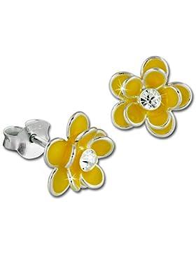 Teenie-Weenie Kinder Ohrring 3D Seerose gelb Ohrstecker 925 Kinderschmuck TW SDO8122Y
