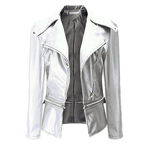 NiSeng Femme Blouson Veste de Motard élégante en Cuir Multi-fermeture à Glissière Blouson Moto Blanc 2XL