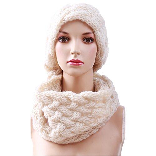 Winter Kabel Ring Schal Frauen Stricken Infinity Schals Gestrickte warme Hals Kreis Schal Beige