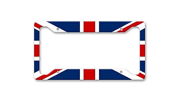 Fhdang Decor England Uk Flagge Großbritannien Aluminium Kennzeichenrahmen Nummernschild Halterung Auto Zubehör 15 2 X 30 5 Cm Auto