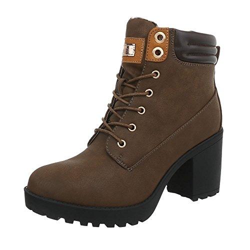 Ital-Design Schnürstiefeletten Damen-Schuhe Blockabsatz Schnürer Schnürsenkel Stiefeletten Braun, Gr 37, B9878-Kb-