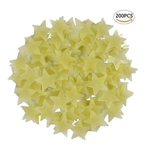 Ymai 200 Stück Leuchtende 3D Sterne Aufkleber in GELB für die Wand, Decke in Schlafzimmer oder Kinderzimmer, garantiert lange fluoreszierende Leuchtkraft …