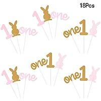 Amosfun 18 unids 1 año de Edad, Pastel de Postre Tarjeta insertada Conejo Animal patrón