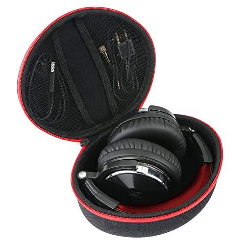 Khanka Eva Hart Reise Tragetasche Tasche für OneOdio DJ Kopfhörer Studiokopfhörer Over-Ear Headset mit Kabeln. (Roter Reißverschluss) (Kopfhörer Tasche Dj)