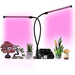 Exmate 18W Indoor Growing Light, LED Wachstum Lampen mit verstellbaren flexiblen 360 Grad Lichter Sämling Obst Gemüse Blume Hydrokultur Gewächshaus Gartenarbeit (Doppelkopf, Doppel-On/Off-Schalter)
