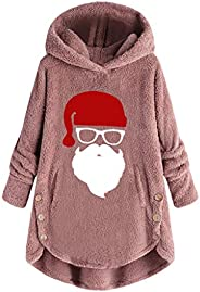 Women Hooded Sweater Coat, Ladies Christmas Santa Long Sleeve Wool Warm Outwear Winter