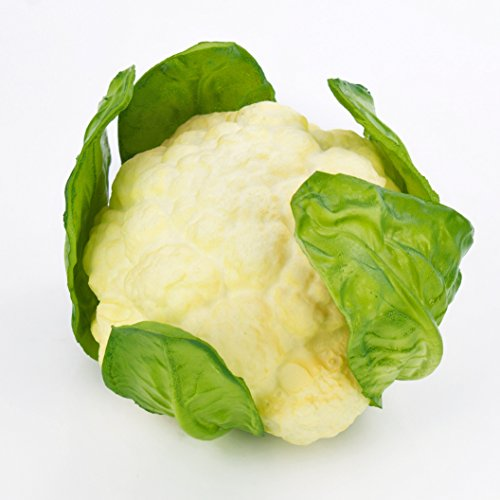 artplants Kunstgemüse Blumenkohl, weiß - grün, 10,5 cm, Ø 18 cm - Künstliches Obst/Deko Gemüse