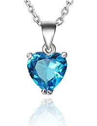 Ananth Jewels 925 Silver BIS Hallmarked Heart Shaped Swarovski Crystal Pendant with Chain for Women