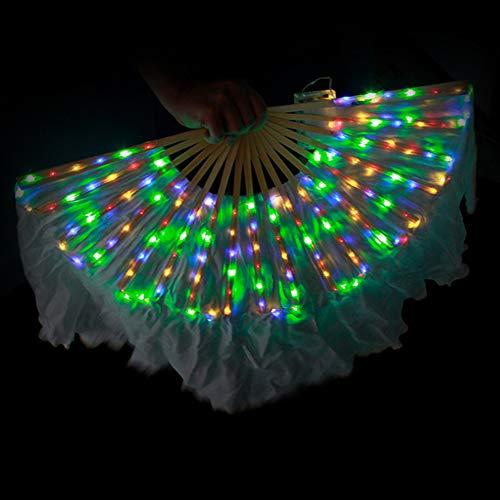 KT Mall Bauchtanz LED Fan Schleier, Bambus Fans Schleier Handgemachte Seide Fan 126 Lampe Perlen Für Tanz Ausrüstung Prop Stage Aktivitäten Tools Karneval Halloween,Colorful (Halloween-aktivitäten Für Karneval)