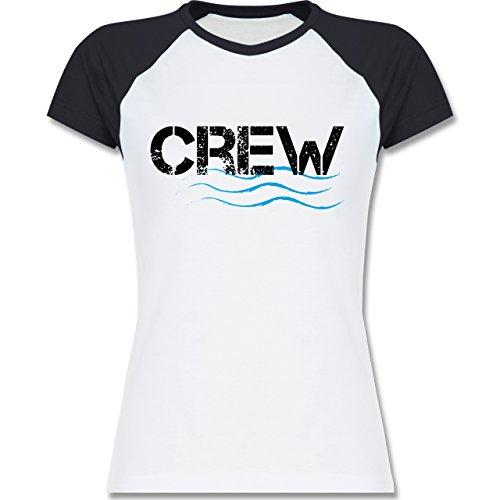 Wassersport - Crew - zweifarbiges Baseballshirt / Raglan T-Shirt für Damen Weiß/Navy Blau