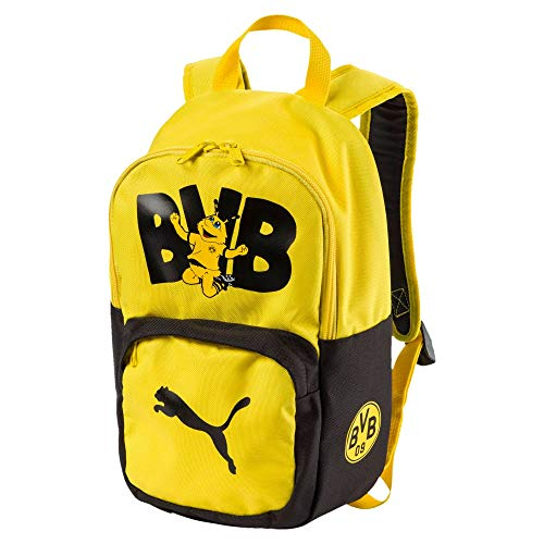 PUMA Kinder BVB Kids Backpack Rucksack, Black-Cyber Yellow, UA