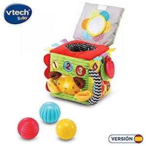 VTech- Minicubo Texturas Cubo de Tela electrónico Interactivo con Luces, Canciones y melodías. (3480-528222)