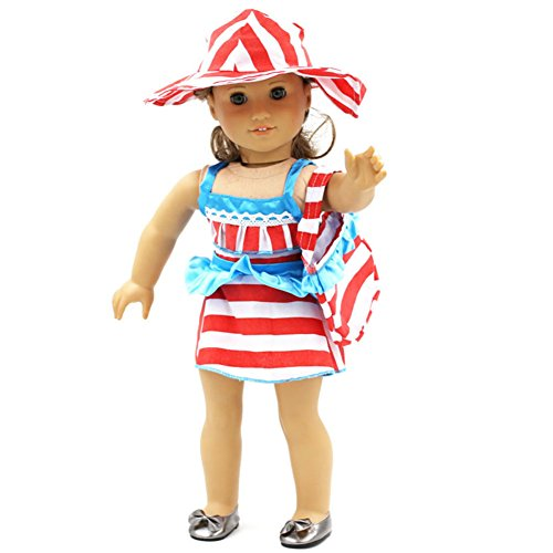 FUNDIY Striped Summer Beach Dress Hat Handbag Clothes Outfits Set For 18 inch American Girl Doll (Costume Ball Barbie)
