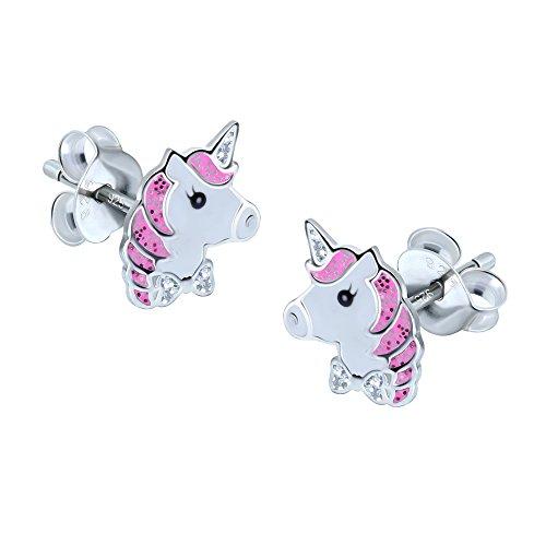 Unicornio pendientes–plata de ley–Color Rosa Brillante