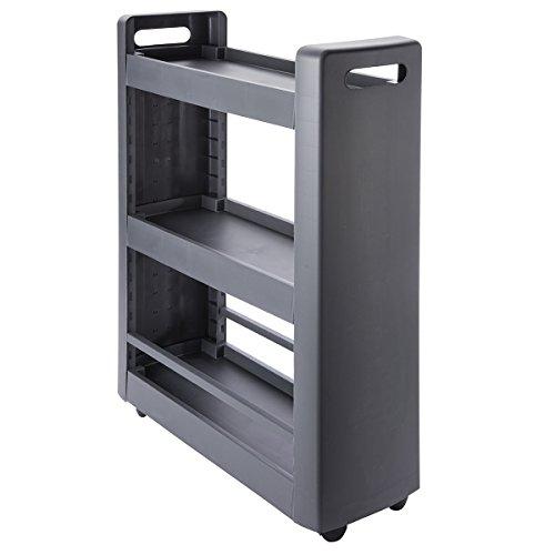 Desserte mobilo meuble de rangement modulable 3 étagères, 4 roulettes, coloris gris anthracite