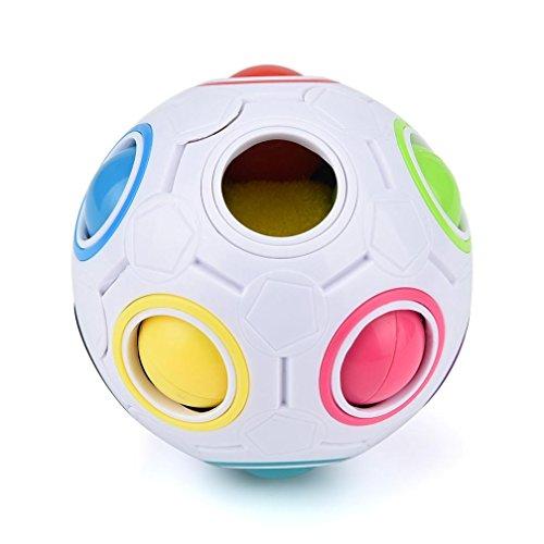Magie Regenbogen Ball Hirolan Neu LED Licht Stress Helfer Regenbogen Zauber Ball Nacht Würfel Twist Puzzle Spielzeuge Puzzle Spaß Passende Farben Spiel, ideales Antistress Gadget (2.6*2.6*2.6inches, Weiß) (10 Auto Jahren Für Ab Kinder)