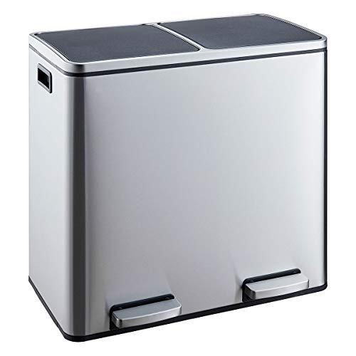 SVITA Treteimer Edelstahl 48 Liter (2x24L) Abfalleimer Mülleimer Design Mülltrennung Silber Papierkorb (60 Liter)