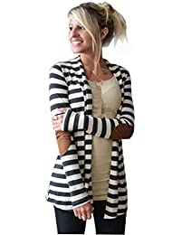 ZARU Remiendo ocasional rayado rebecas mujer de manga larga Outwear