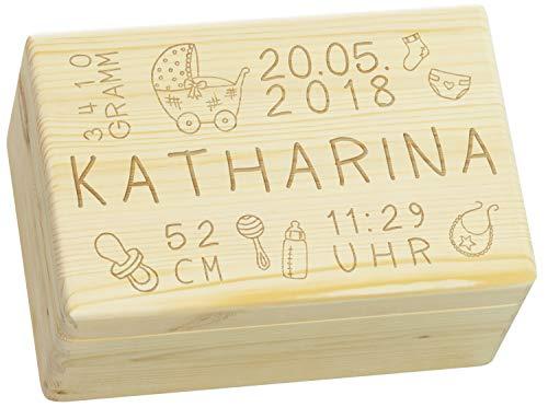 Holzkiste mit Gravur - Personalisiert mit ❤ GEBURTSDATEN ❤ - Größe M - Rassel Motiv - Erinnerungskiste als Geschenk zur Geburt - LAUBLUST® (M Und M Personalisiert)