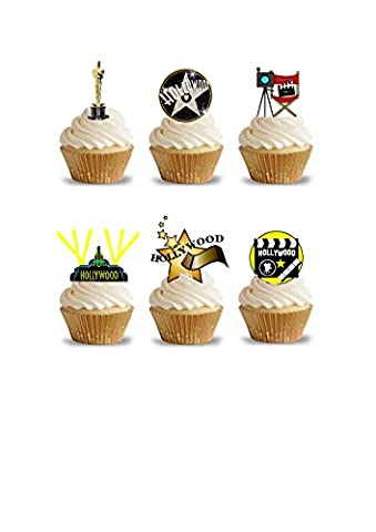 32 Stand Up Hollywood Movie Oscar Themed Edible Wafer Paper Cake Toppers Decorations