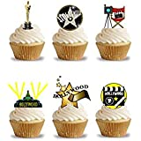 32 Stand Up Hollywood Movie Oscar Themed Edible Wafer Paper Cake Toppers Decorations by Top That