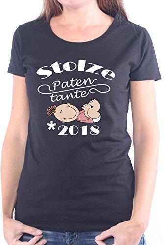 Mister Merchandise Ladies Damen Frauen T-Shirt Patentante - 2018 Geburt, Schwanger Tee Mädchen Bedruckt Schwarz, M (Womens Lustig Dunklen T-shirt)